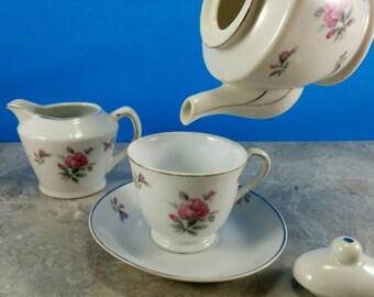 Vintage Tea Set for One Pink Roses with Tea Cup, Saucer, Tea Pot, Creamer - Grantcrest Japan