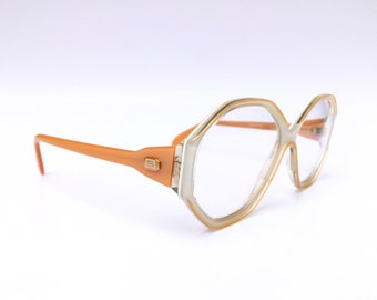 SILHOUETTE!!! Stylish 80s 'Silhouette' angled cream and apricot framed eye glasses with gold 'S' temple logo plate / Deadstock