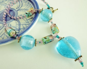 Aqua Glass Heart Pendant Necklace, Lampworked Glass Beads, Glass Beaded Necklace, Aqua Glass Beads