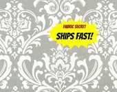 Grey Damask Fabric by the Yard Premier Prints OZBORNE STORM grey white Home Decor Upholstery - 1 yard or more -  SHIPs FAST