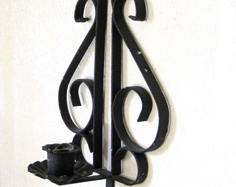 Wrought Iron Candle Sconce, Wall Mount, Small Black Wall Candleabra, Scrollwork, Ornate Black Metal Candle Holder with Hook for Hat