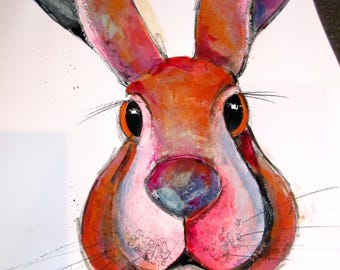 Hare....hand coloured print by Suzanne Patterson. A hand coloured watercolour and pastel print by Suzanne Patterson. A4