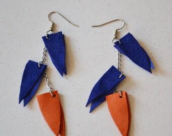 Colorful earrings, leather jewelry, Long boho earrings, Bold earrings, Statement earrings, Valentines Gift under 15, Geometric,handmade gift
