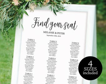 Wedding Seating Chart, Printable Seating Chart, Seating Chart Template, Seating Plan, Seating Board, PDF Instant Download, M02-1