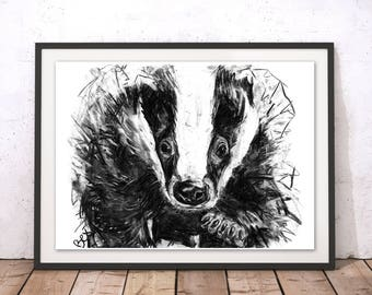 Badger Art Print Badger Wall Art Badger Charcoal Illustration Badger Black and White Home Decor Badger Animal Gift For New Home by Bex