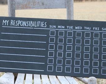 "Chalkboard Sign, Kids Chore Chart, Responsibilities Chart, 12""x24"""