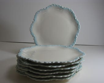 Vintage ceramic dinner plates with unique scalloped edges and light blue trim by UGS-set of 8