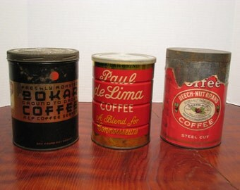 3 Vintage Coffee Cans