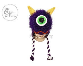 READY TO SHIP! Purple Monster Hat, Hand Crochet by Cozy Hat