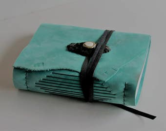 """Handmade Leather Journal, Leather Photo Album, Aqua Leather Book,  Bullet Journal, Adventure Diary, 3rd Anniversary Gift 6"""" x 7 1/2"""""""