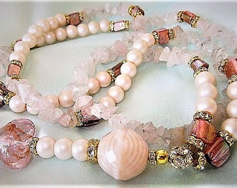 Long necklace Pink mother of Pearl and Rose Quartz