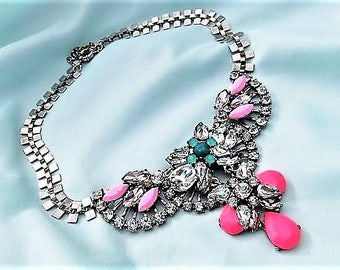 Statement necklace pink silver necklace rhinestone necklace