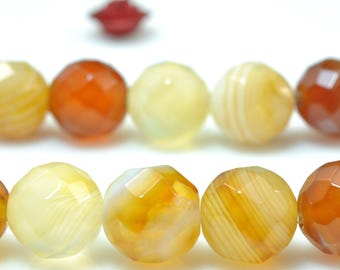 47pcs of Banded Agate faceted round beads in 8mm