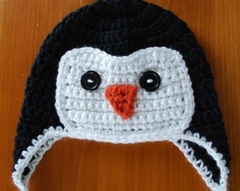 Penguin Hat, Animal Hat, Character Hat, Penguin Hat Crochet, Hand Crochet Penguin Hat, Earflap Hat, Crochet Earflap Hat, Penguin Earflap Hat