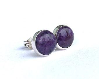 Charoite Stud Earrings 8mm .. Charoite Earrings .. Handmade jewelry .. Purple Charoite