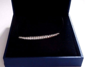 Signed Swarovski Necklace Rhodium Plated Banana Bar set with Crystals New (D)