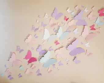 3D paper butterfly  Wall  Art  Home Decor / 75 butterflies / Pink and purple butterflies