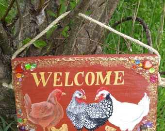 Chicken and chicks hand painted 'Welcome' house / garden / chicken coop sign