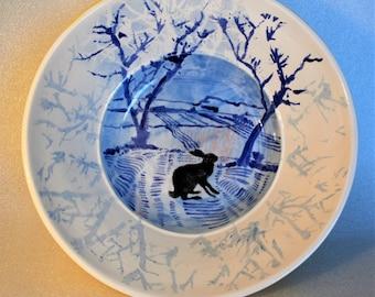 The Black Hare and Winter Landscape Pottery Medium Fruit Bowl / Serving Dish / Salad Bowl