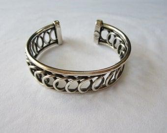 Vintage RALPH LAUREN RLL Silver Tone Braided Cuff Bracelet