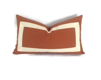 Rusty Brown with Cream Ribbon Embellished Lumbar Pillow Cover