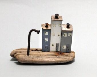 Handmade little painted Driftwood Coast Houses # 537