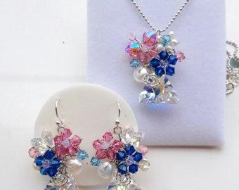 Royal blue jewellery set, blue pink jewellery , crystal jewellery , prom jewellery , women Jewellery , pearl jewellery , delicate jewellery