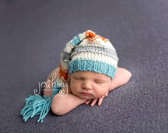 Newborn sleepy hat - longtail pixie hat - knit baby hat - elf hat - baby boy hat - baby girl hat - newborn photo prop