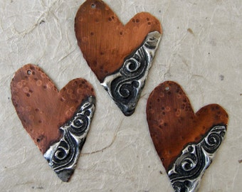 Copper Hearts with stamped solder embelishment