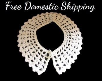 Vintage Crochet Collar, Peter Pan Collar, Pearl Button Collar, White Collar, Neck Accessories, Shirt Crochet Collar, Free US Shipping