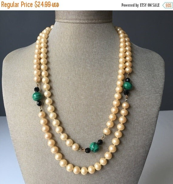 ON SALE Vintage Malachite and Peach Pearl Beaded Station Necklace, Glass Pearl, Black Crystal and Genuine Malachite Stone, Costume Jewelry