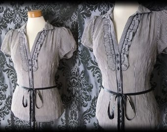 Gothic Striped Frilled Bib VICTORIAN GOVERNESS Ribbon Tie Blouse 18 20 Vintage
