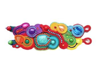 Fairytale & very colorful bracelet soutache- OOAK, bracciale soutache,Couleur du bracelet