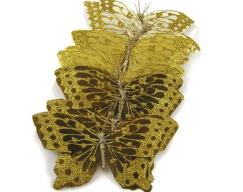 Vintage 1990s Feather Butterflies Set of 12 with Gold Glitter Decorations