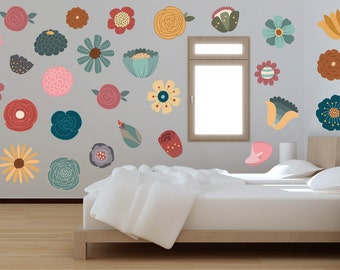 flower wall decals vintage floral decor floral wall decals flower wall art - Wall Design Decals