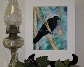 Raven, Crow Fantasy Art Print signed 8in x 10in