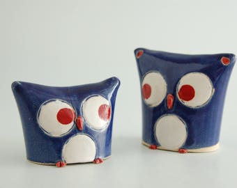 Owl, ceramic with red, white and blue glaze, comes with a poem