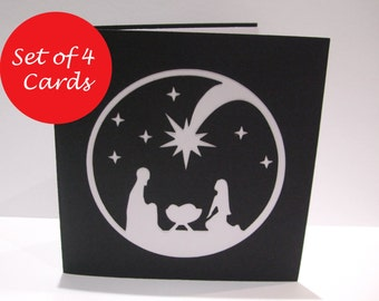 Pack of 4 Christmas Cards - Paper Cut Nativity Card - Religious Christmas Card Set - Christian Card - Handmade Card - Holiday Card -  Pack