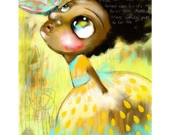 Nursery Art Decor - Afro Haired Girl -  whimsical portrait