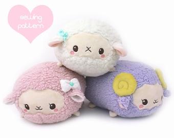 "PDF sewing pattern - Sheep Roll plush stacking loaf plushie with video - easy kawaii stuffed animal lamb ram alpaca llama plush 11"""