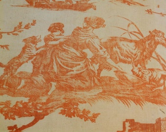 Vintage French toile linen fabric.