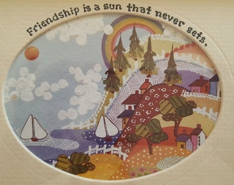 """Friendship is a sun that never sets"""" by Roberta, Vintage Wall Hanging"""