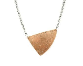 Copper geometric asymmetric triangle necklace, hammered copper triangle, stainless steel finishing + chain, mixed metals, copper, minimal