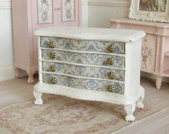 dollhouse miniature chest of drawers antique white dresser bedroom furniture blue damask