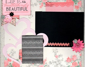 Life is Breathtakingly Beautiful  - Class Pack, *** SINGLE Page Scrapbooking Layout Kit*** Girl Themed