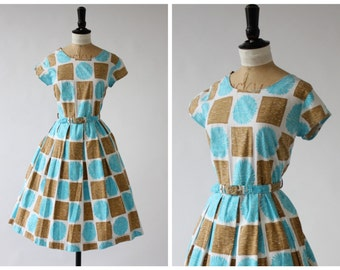 Vintage original 1950s 50s turquoise and tan floral print abstract painterly dress UK 10 12 US 6 8 S M