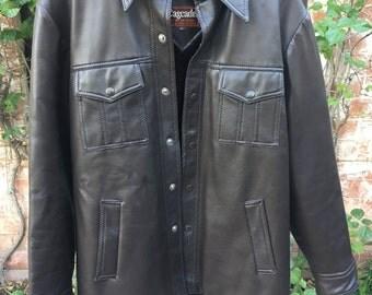 Vintage Faux Leather Vinyl Dark Brown Mobster Gangster Jacket Coat