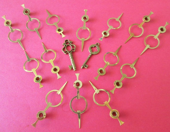 14 Vintage Shiny Solid Brass Moon Design Clock Hour Hands - for your Clock Projects , Jewelry Making, Steampunk Art & Etc...