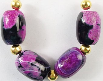18mm Hot Pink and Black Fire Agate Gemstone Beads