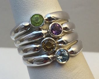4 Sterling gemstone stacker rings